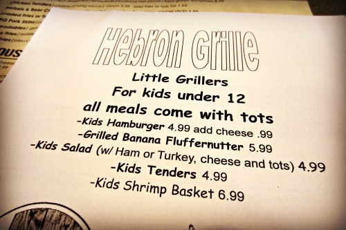 Hebron Grille Kids Menu