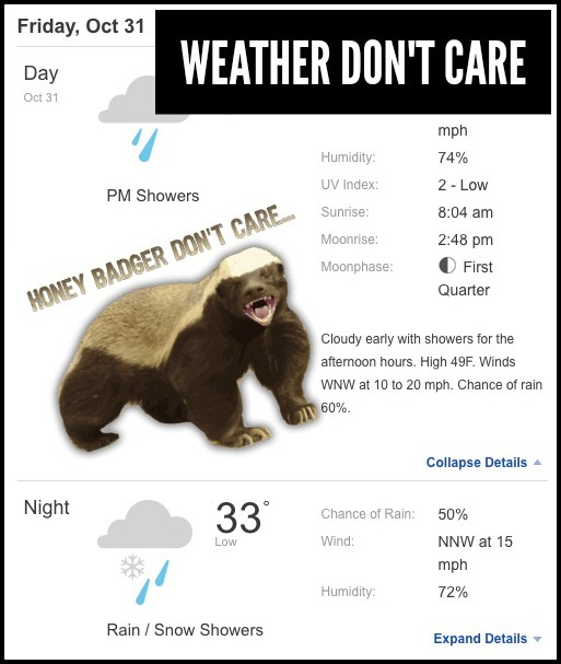 After last year's Halloween night deluge, I feel the Weather owes us this time around. But apparently, like Honey Badger, the Weather don't care.